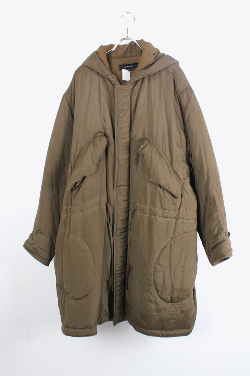 MADE IN ITALY HOODIE ZIP UP PUFF COAT / OLIVE [SIZE: S USED]