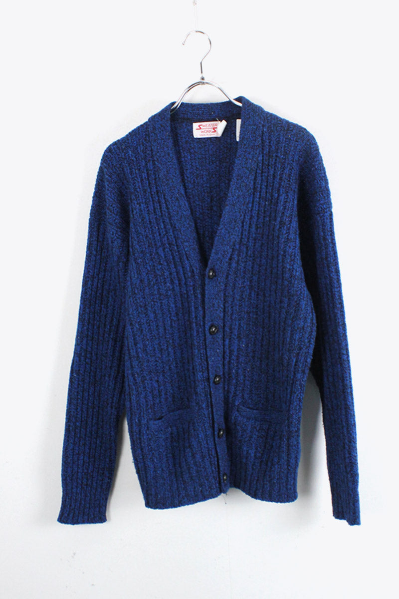 MADE IN USA 70'S WOOL NYLON MIX CARDIGAN / BLUE MELANGE [SIZE: L USED]