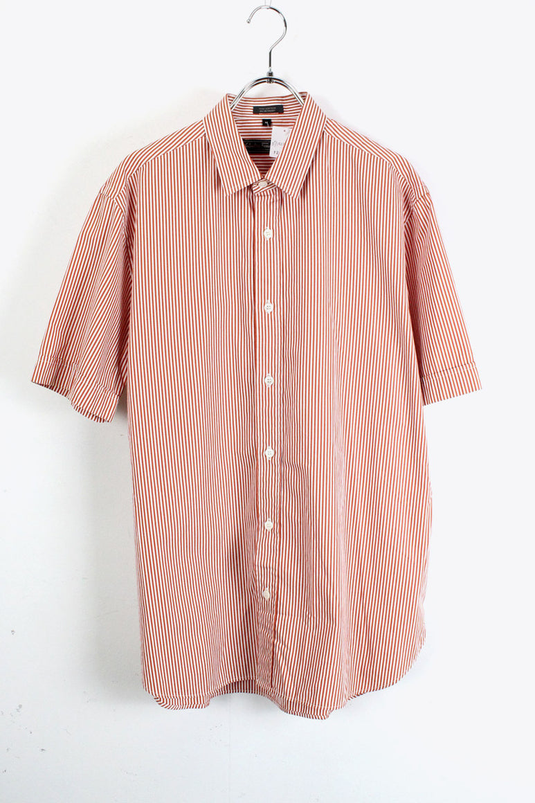 MADE IN ITALY S/S STRIPE SHIRT / RED / WHITE [SIZE:M USED][金沢店]
