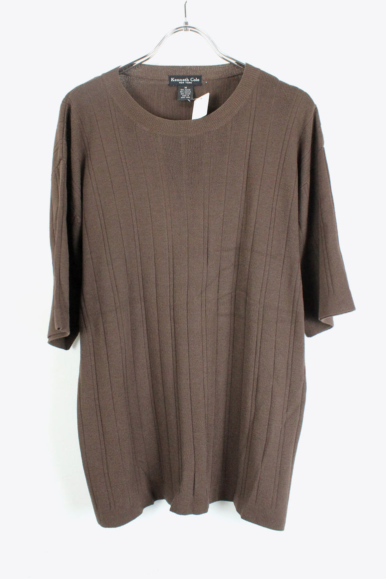 S/S RAYON KNIT CUT SAW / BROWN [SIZE:M USED][金沢店]