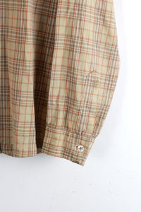 MADE IN USA 70'S L/S OPEN COLLAR WOOL CHECK SHIRT / BEIGE CHECK [SIZE: M USED]