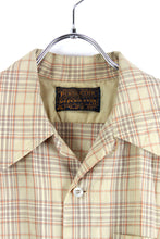 画像をギャラリービューアに読み込む, MADE IN USA 70'S L/S OPEN COLLAR WOOL CHECK SHIRT / BEIGE CHECK [SIZE: M USED]