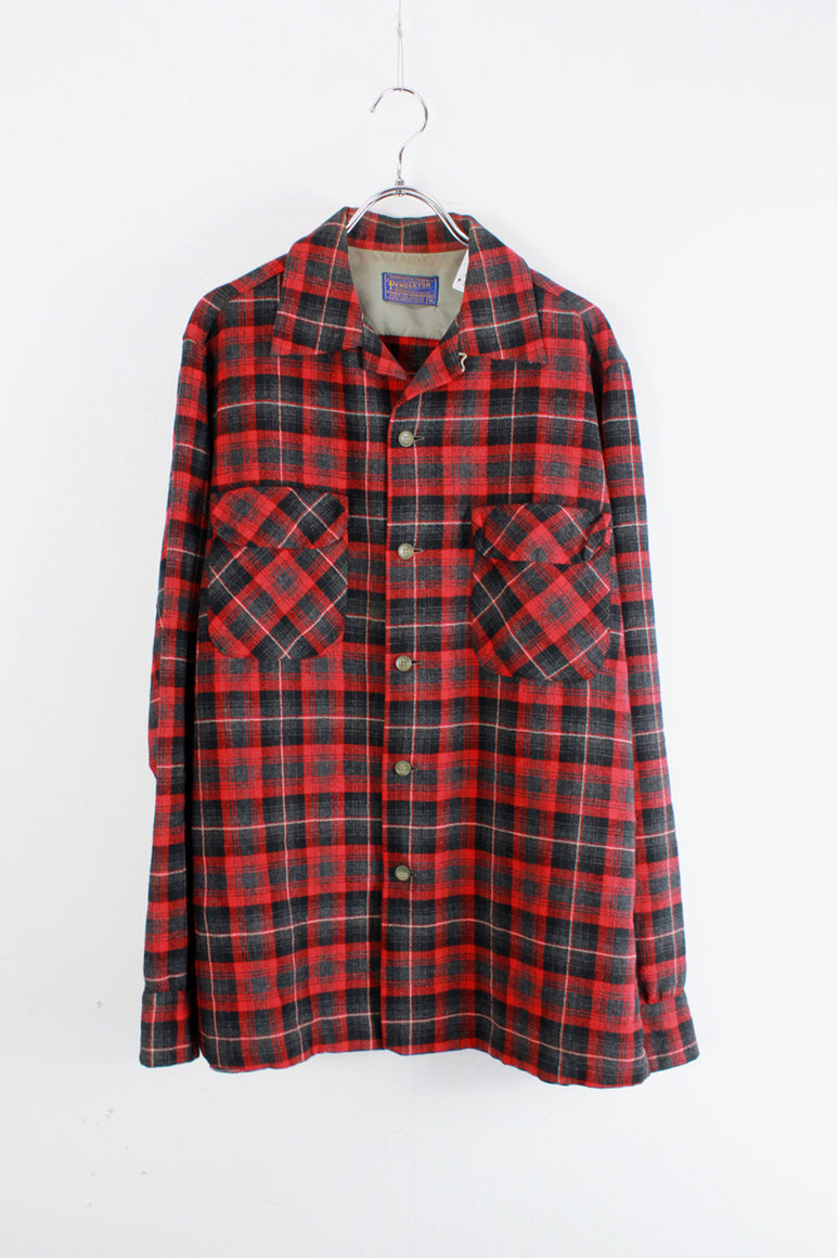 80'S L/S OPEN COLLAR WOOL CHECK SHIRT / RED/CHARCOAL [SIZE: M USED]