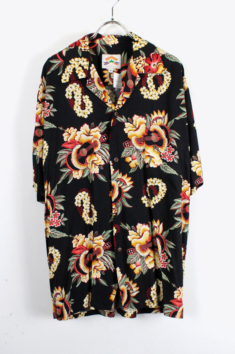 MADE IN HAWAII 90'S RAYON HAWAIIAN SHIRT / BLACK [SIZE:M USED][金沢店]
