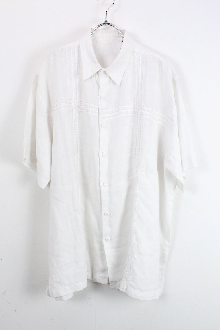 90'S S/S LINEN BIG SHIRT / WHITE [SIZE:XL USED][金沢店]