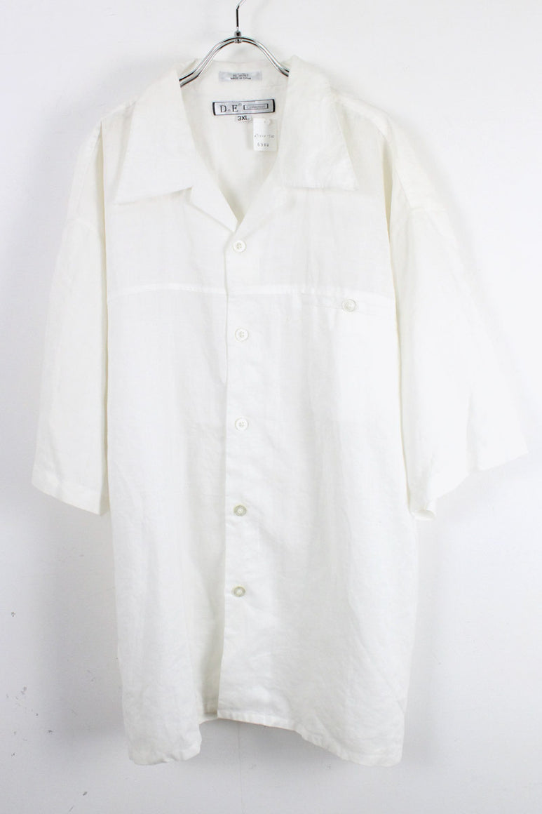 90'S S/S LINEN BIG SHIRT / WHITE [SIZE:3XL USED][金沢店]