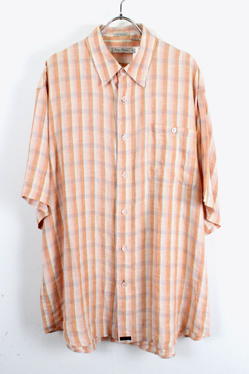 90'S S/S LINEN CHECK SHIRT / ORANGE [SIZE:L USED][金沢店]