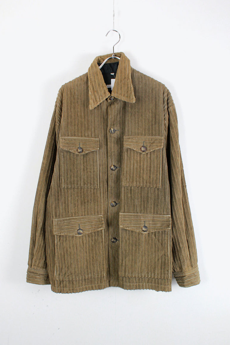 MADE IN ITALY 90'S CORDUROY BUTTON JACKET / BEIGE [SIZE: XL USED]