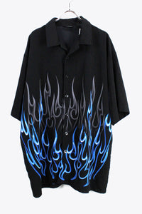 S/S FLAME PATTERN SHIRT / BLACK/BLUE [SIZE:XL USED][金沢店]