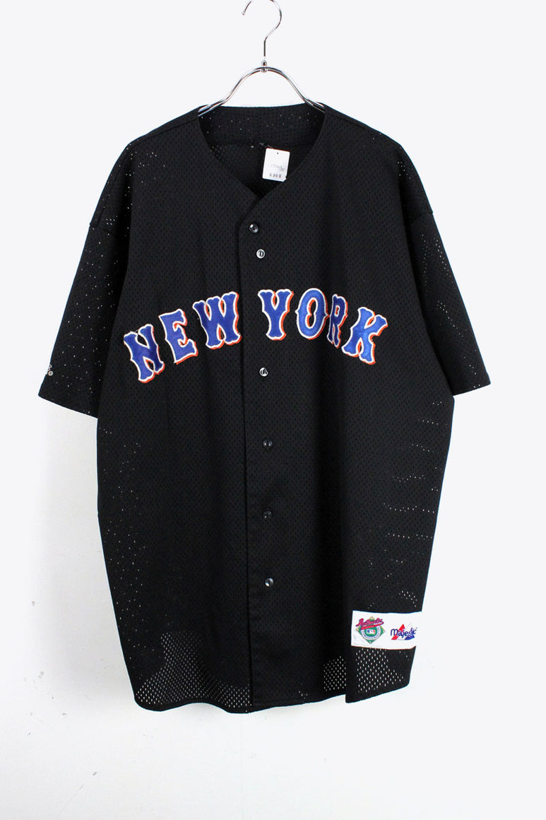 NY METS BASEBALL SHIRT USA企画品 / BLACK [SIZE:L相当 USED][金沢店]