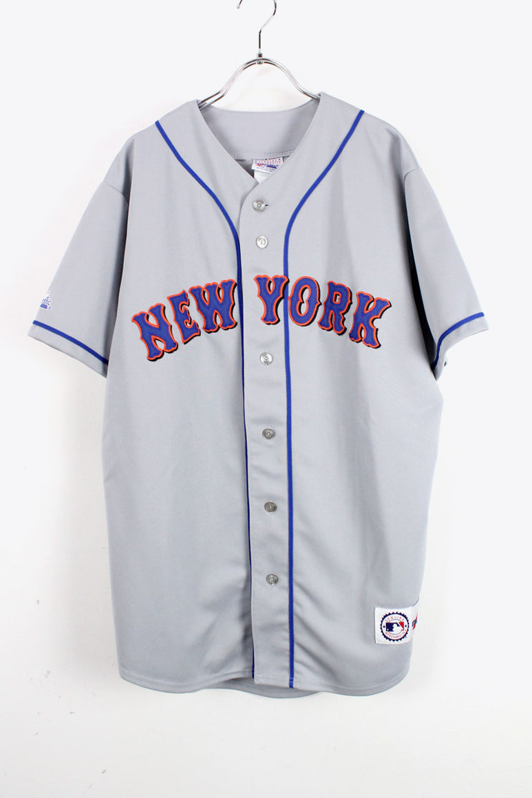 NY METS BASEBALL SHIRT USA企画品 / GREY [SIZE:L USED][金沢店]