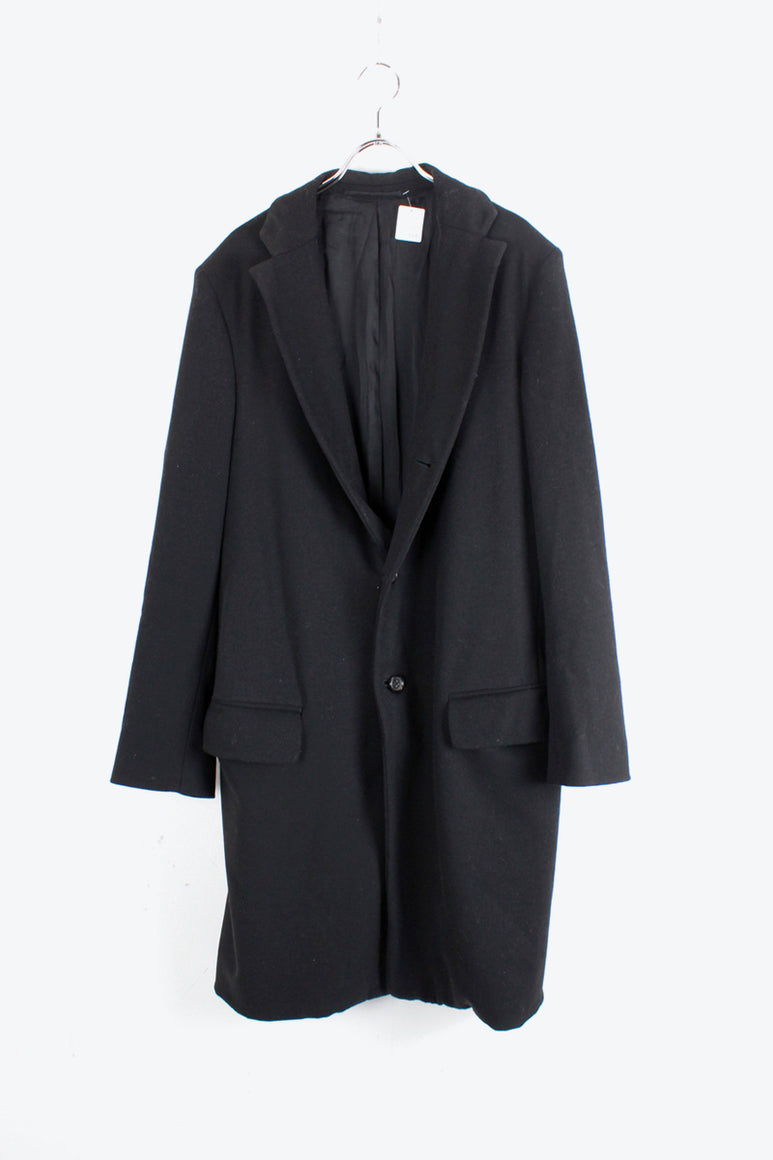 MADE IN ITALY CASHMERE WOOL COAT / BLACK [SIZE: M相当 USED]