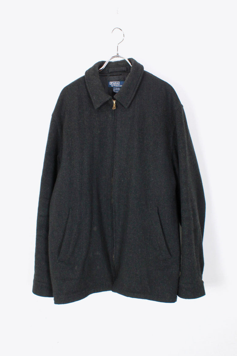 90'S ZIP WOOL JACKET / DARK GRAY [SIZE: M USED]