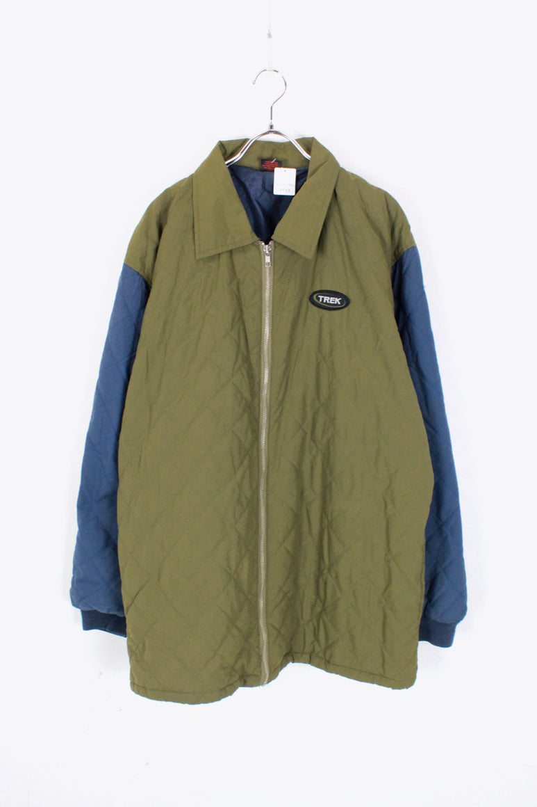 MADE IN USA 90'S SWITCHING SLEEVE QUILTING ZIP JACKET / KHAKI/NAVY [SIZE: L USED]