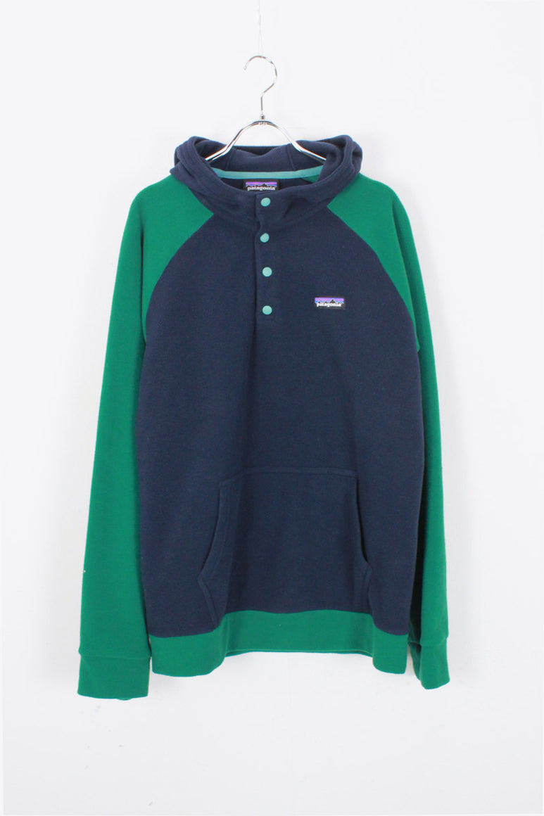 SNAP T FLEECE HOODIE / NAVY/GREEN [SIZE: M USED]