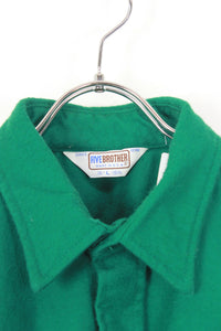MADE IN USA 70'S L/S COTTON SHIRT JACKET / GREEN [SIZE: L USED]