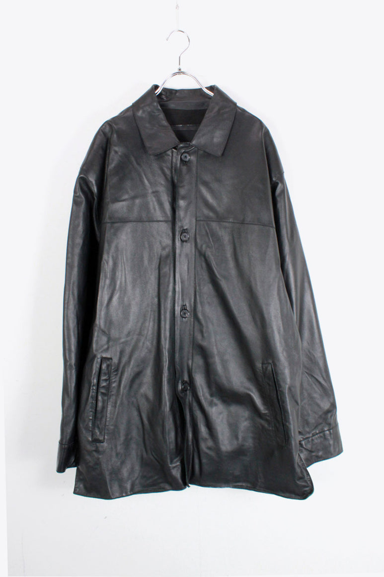 LEATHER COAT / BLACK [SIZE: L USED]