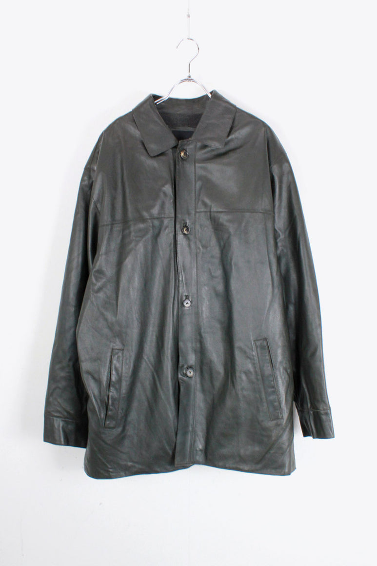 LEATHER COAT / DARK GREEN [SIZE: L USED]