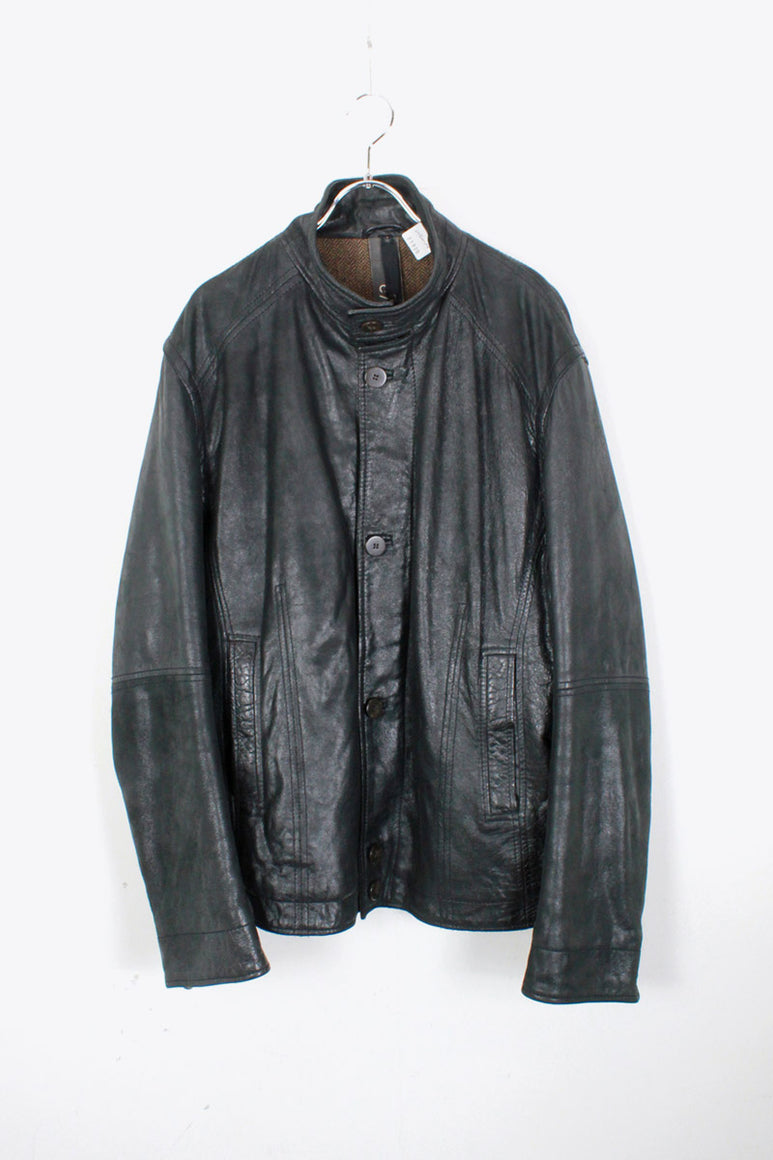 PELLE LEATHER ZIP JACKET / BLACK [SIZE: XL相当 USED]