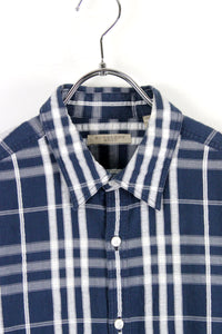L/S CHECK SHIRT / NAVY/WHITE [SIZE: M USED][金沢店]