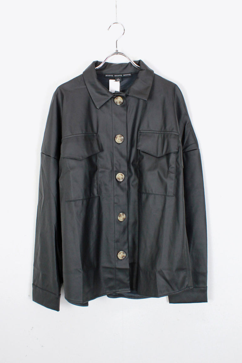 VEGAN LEATHER SHIRT JACKET / BLACK [SIZE: L DEAD STOCK]