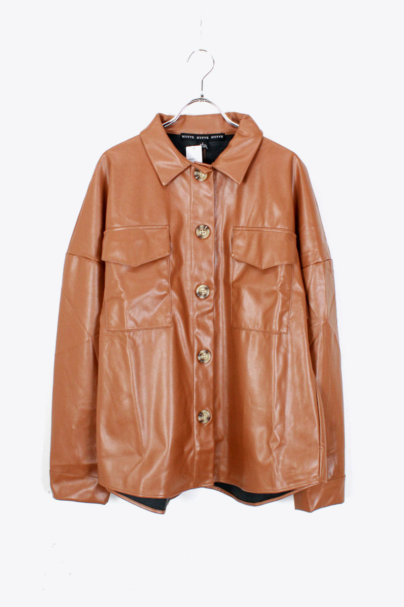VEGAN LEATHER SHIRT JACKET / BROWN [SIZE: L DEAD STOCK]