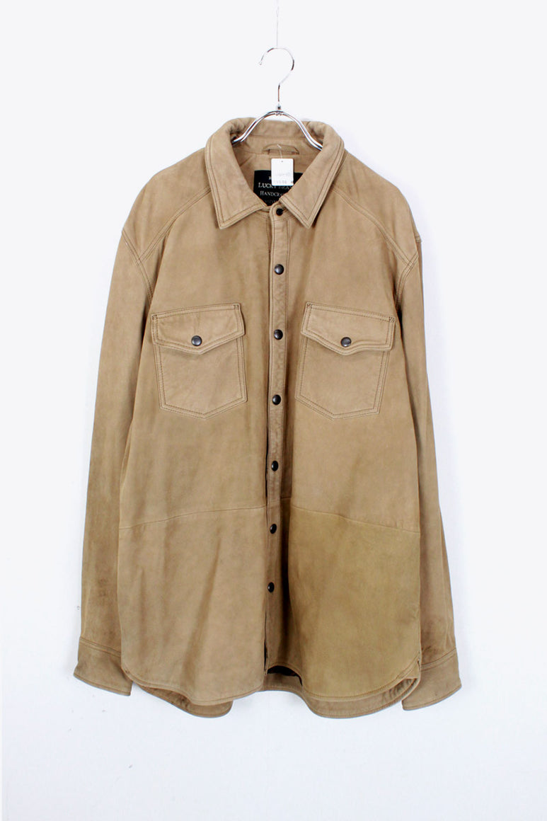 LAMB NUBACK LEATHER SHIRT JACKET / BEIGE [SIZE: XL USED]