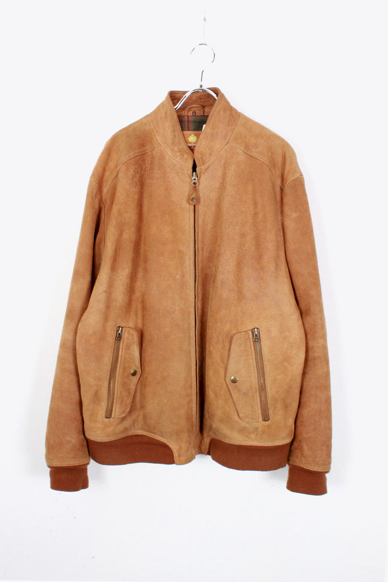 SUEDE LEATHER ZIP JACKET / BEIGE [SIZE: L USED]