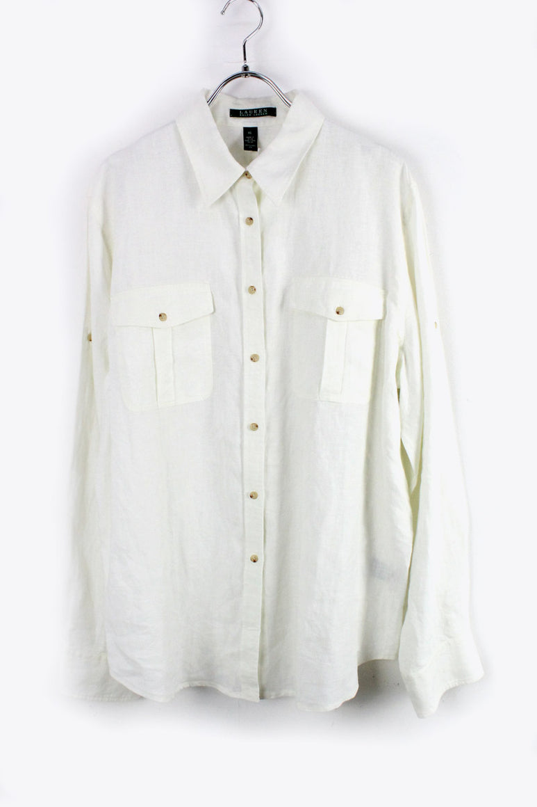 L/S LINEN SHIRT / WHITE [SIZE: XL USED][金沢店]
