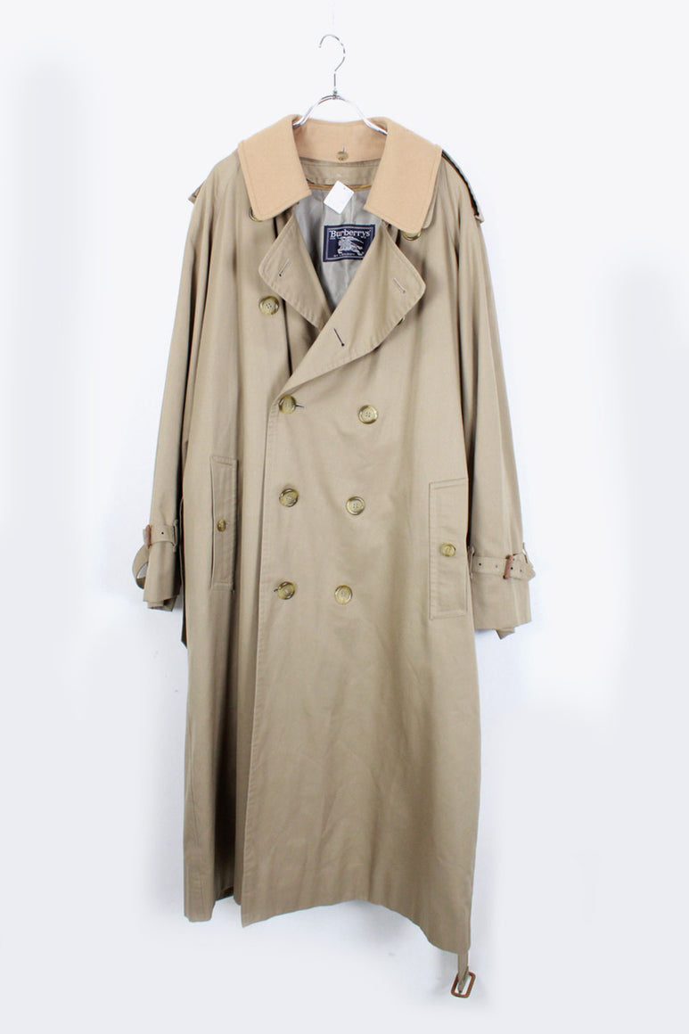 MADE IN ENGLAND 90'S DOUBLE TRENCH COAT W/WOOL LINNER / BEIGE [SIZE: L相当 USED]