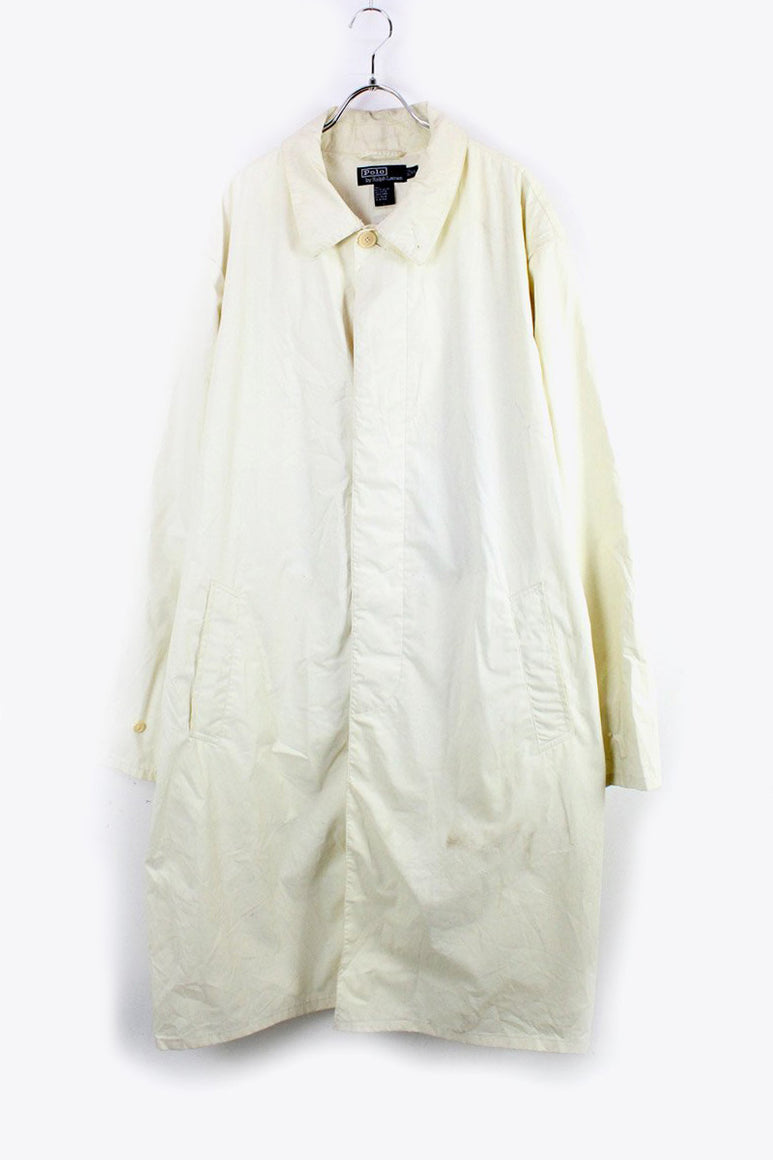 90'S COTTON POLYESTER RAIN COAT / WHITE [SIZE: XL USED] [金沢店]