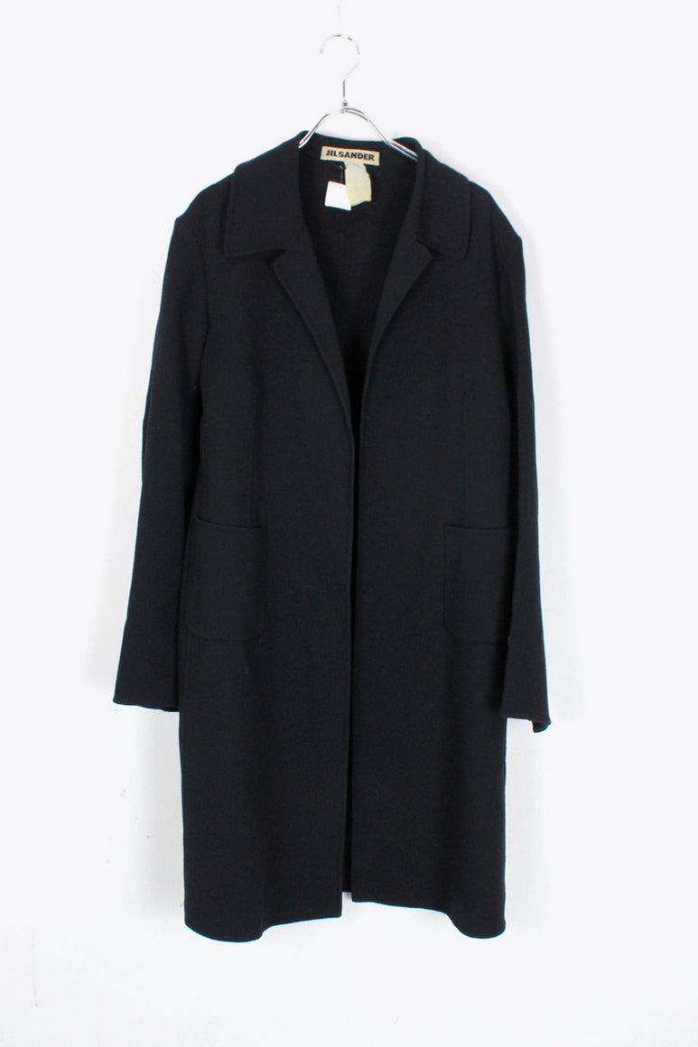 MADE IN ITALY WOOL LONG COAT / BLACK [SIZE: 34(M相当) USED]