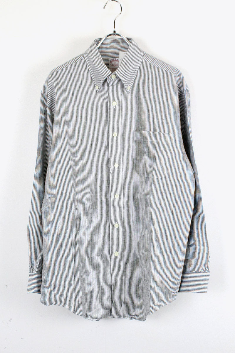 L/S STRIPE LINEN SHIRT / STRIPE [SIZE: M USED][金沢店]