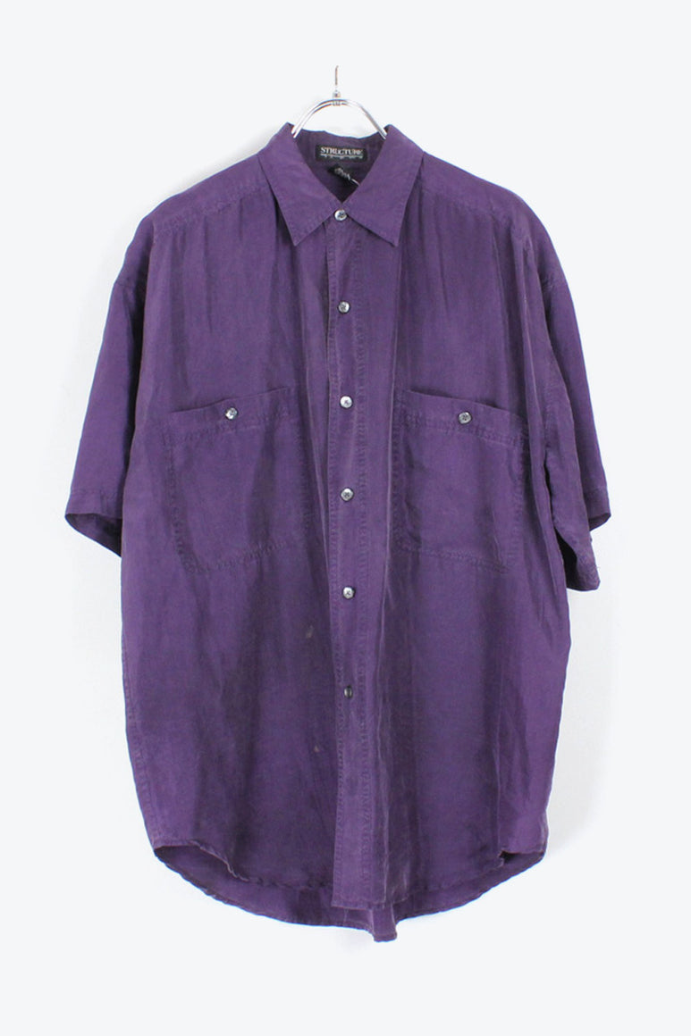 90'S S/S SILK SHIRT / PURPLE【SIZE:M USED】【金沢店】