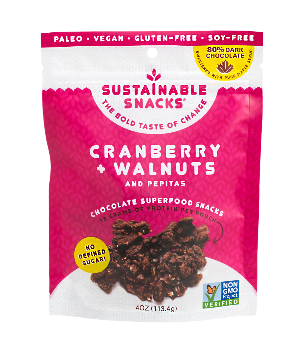 Chocolate Superfood Snacks - Cranberry + Walnuts with Pepitas