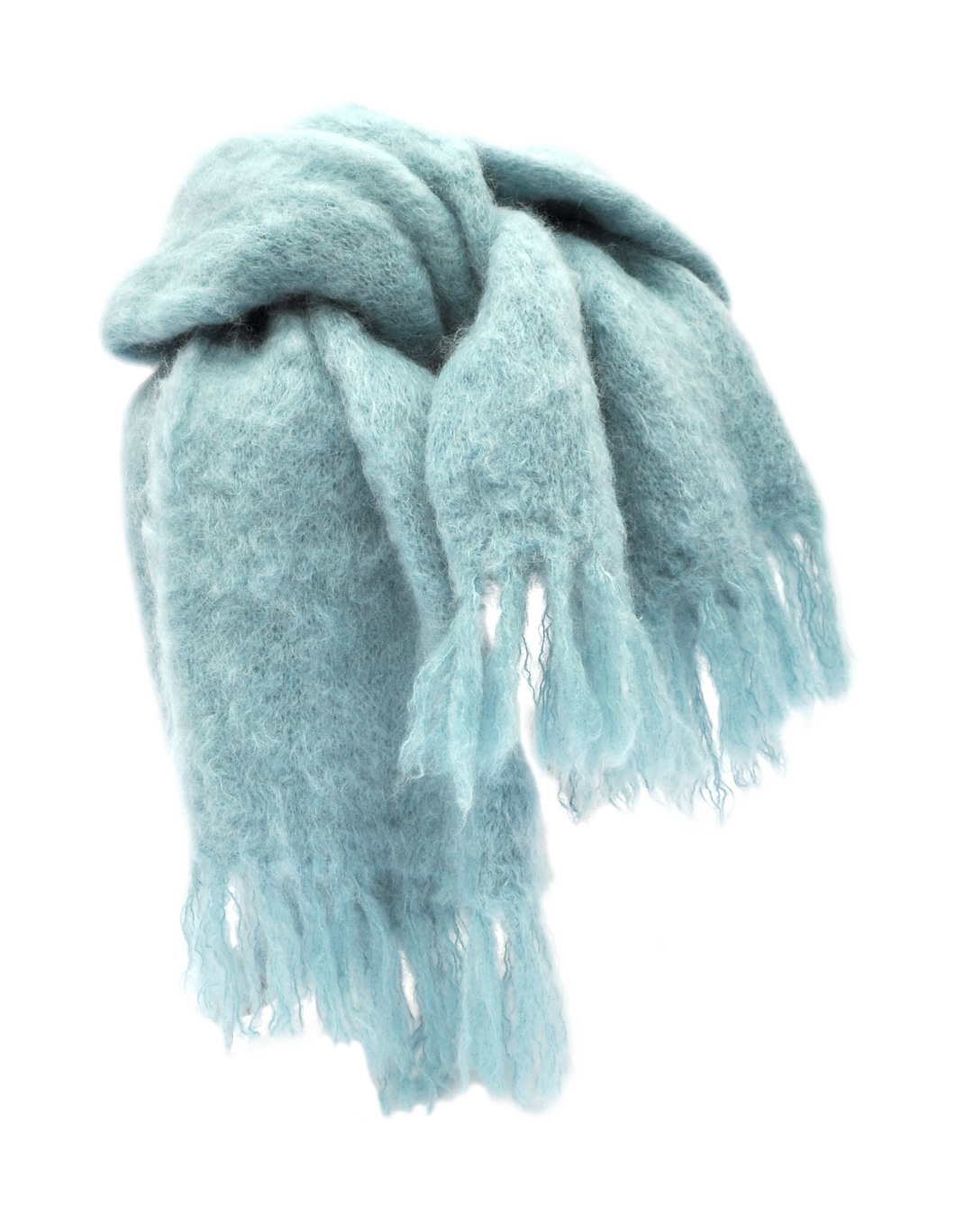 Hand Knitted Mohair Throw - Light Denim