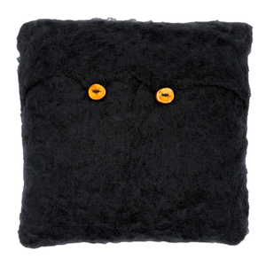 Hand Knitted Mohair Throw Pillow - Black