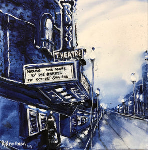 "'YXE Blues - Roxy Theatre' 10""x10""x1.5"" acrylic on canvas.  Price for 3 month rental."