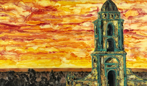 "'Rooftop Religion' 48""x28""x1.5"" acrylic on canvas.  Price for 3 month rental."