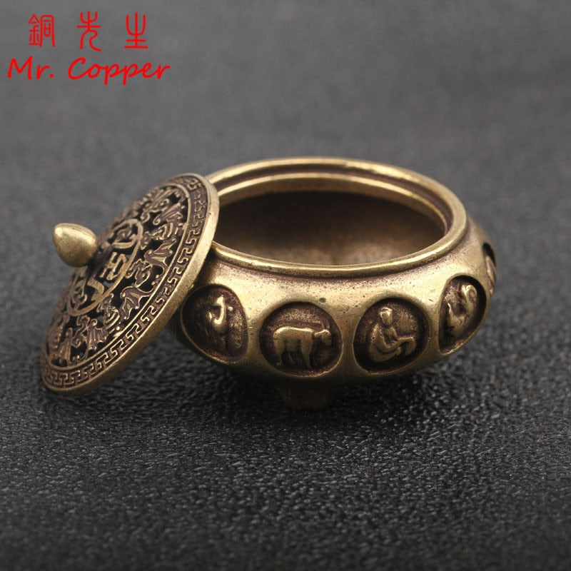 Antique Bronze Chinese 12 Zodiac Animals Incense Burner Home Decorations Pure Copper Hollow Home Censer Sandalwood Censer Holder