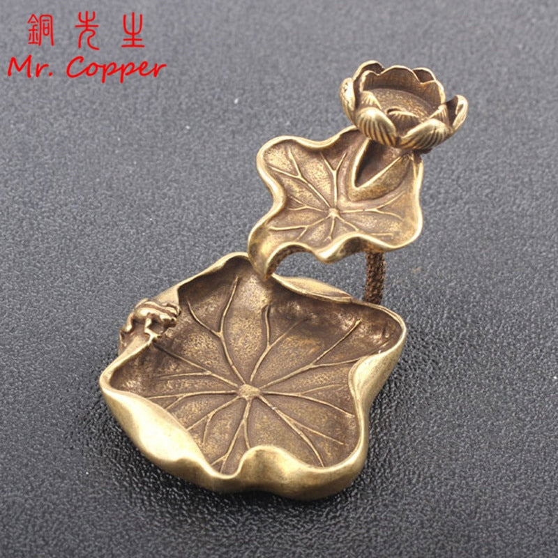 Antique Brass Lotus Leaf Backflow Incense Burner Decorations Solid Pure Copper Frog Lotus Pond Censer Holder Ornaments Tea Pets