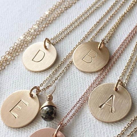 Gold Hand-stamped Monogram Necklace