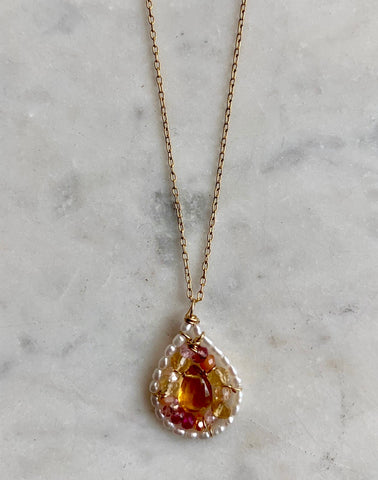 Citrine/ Pink Amethyst Teardrop Necklace