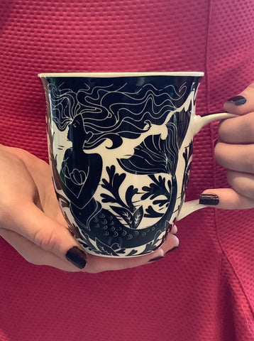 Woodcut Mermaid Mug