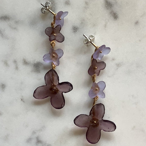 Fused Glass Hydrangea Earrings