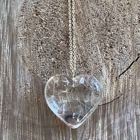 Dandelion Heart Necklace