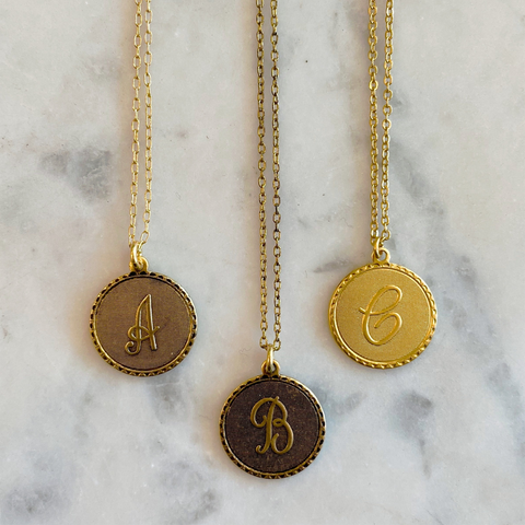Gold Mini Monogram Coin Necklace