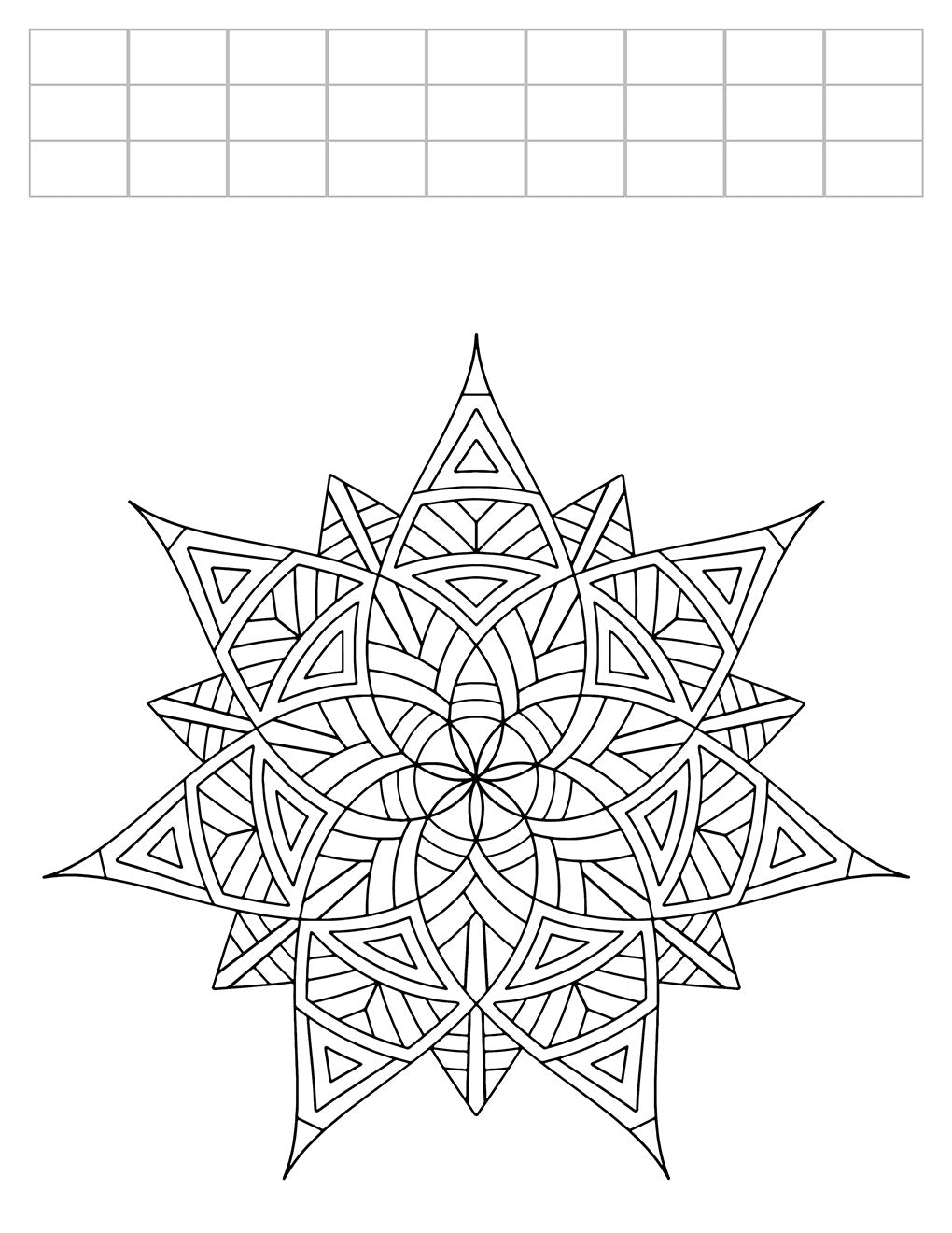 Lucky Seven - Geometric Coloring Worksheet - 8.5