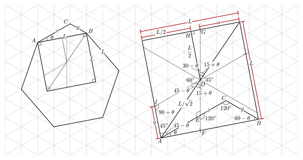 Rotated triangle grid in a square proof diagram