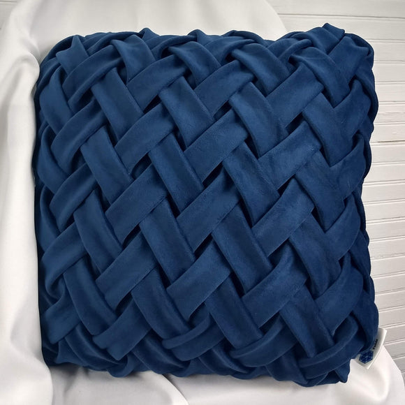 Navy Herringbone Weave Over-sized Accent Pillow